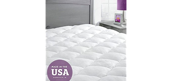 Eluxury Supplies Bamboo Mattress Pad - Hotel Quality Quilted Cooling Mattress Pad