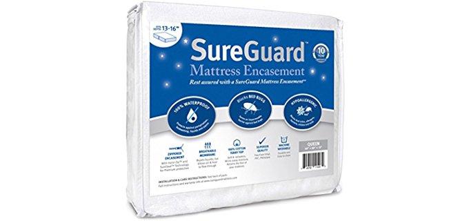 Sure Guard Zippered Mattress Encasement - Waterproof Mattress Protector with Zipper