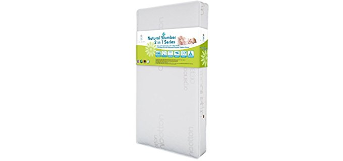 LA Baby 2 in 1 Organic Crib Mattress - Dual Sided Organic Soy Foam Crib Mattress