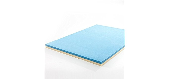 Zinus Dual Layered Mattress Topper - Cooling Back Pain Relief Mattress Topper