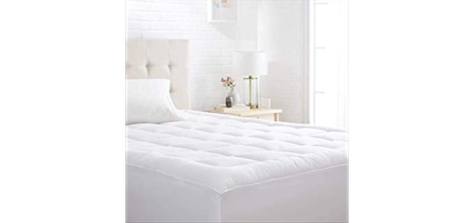 amazon Basics Quilted Microfiber Mattress Topper - Hypoallergenic Mattress Topper for Back Pain