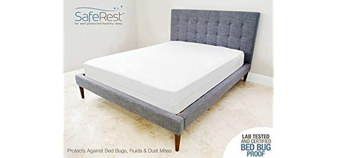 SafeRest Anti Bed Bug Mattress Cover - Breathable Zippered Mattress Encasement