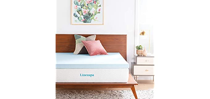 LINENSPA Memory Foam - 3 Inch Mattress Topper for Heavy People