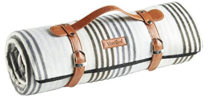 VonShef Faux Leather - Striped Picnic Blanket