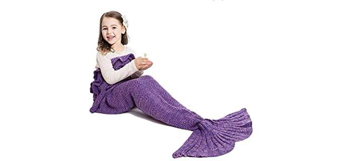 JR.WHITE Knitted - Girl's Mermaid Tail Blanket
