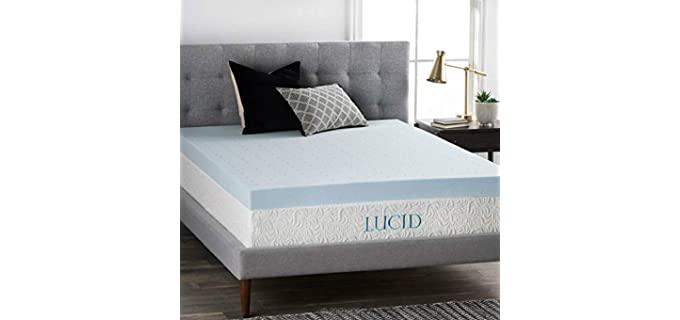 LUCID 4 Inch Ventilated Design - Gel Memory Foam Mattress Topper