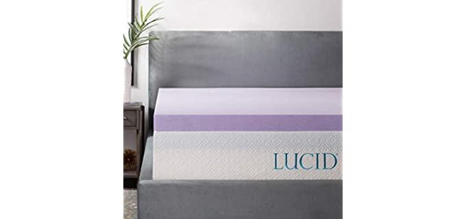 LUCID 3 Inch Lavender Infused - Memory Foam Mattress Topper