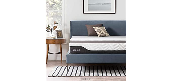 Lucid 2 Inch Bamboo Charcoal - Memory Foam Mattress Topper