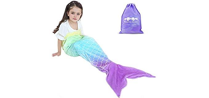 RIBANDS HOME Plush - Mermaid Tail Blanket for Girl