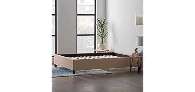 LUCID Linen Inspired - Upholstered Bed with Wooden Slats