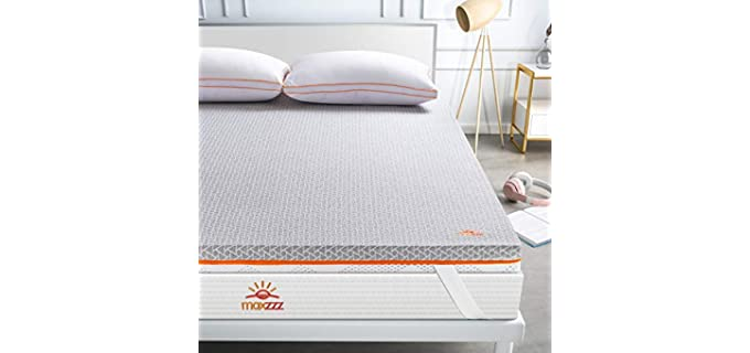 Maxzzz Bamboo Charcoal & Copper - Dual Side Memory Foam Mattress Topper