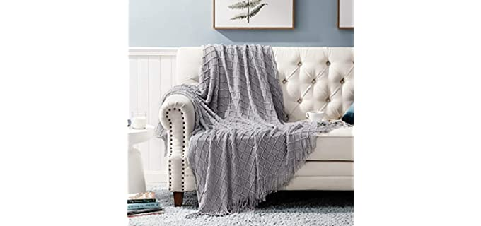 Bedsure Decorative - Knit Woven Blanket