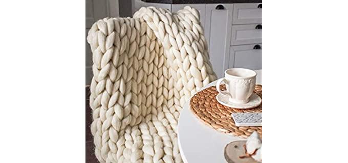 MLMGUO Decorative - Merino Wool Knitted Blankets