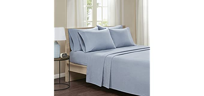 Comfort Spaces Queen - Solid Blue Flannel Sheet