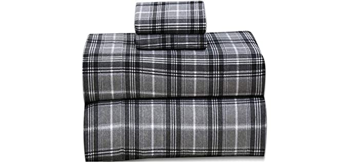 Ruvanti Queen - Grey Plaid Flannel Sheet