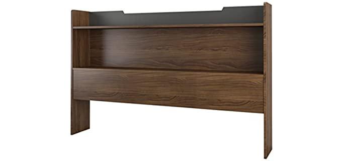 Nexera  Walnut - Bookcase Headboards for Queen Bed