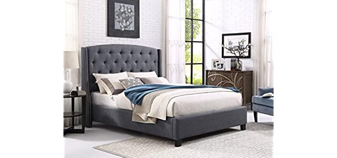 Roundhill Furniture King -  Gray Wingback Headboard